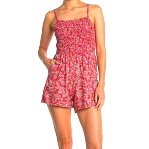 NWT Angie Smocked TOP Floral Print Romper